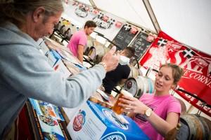 Gemma serving pints in the beer tent