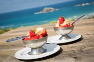 strawberries icecream