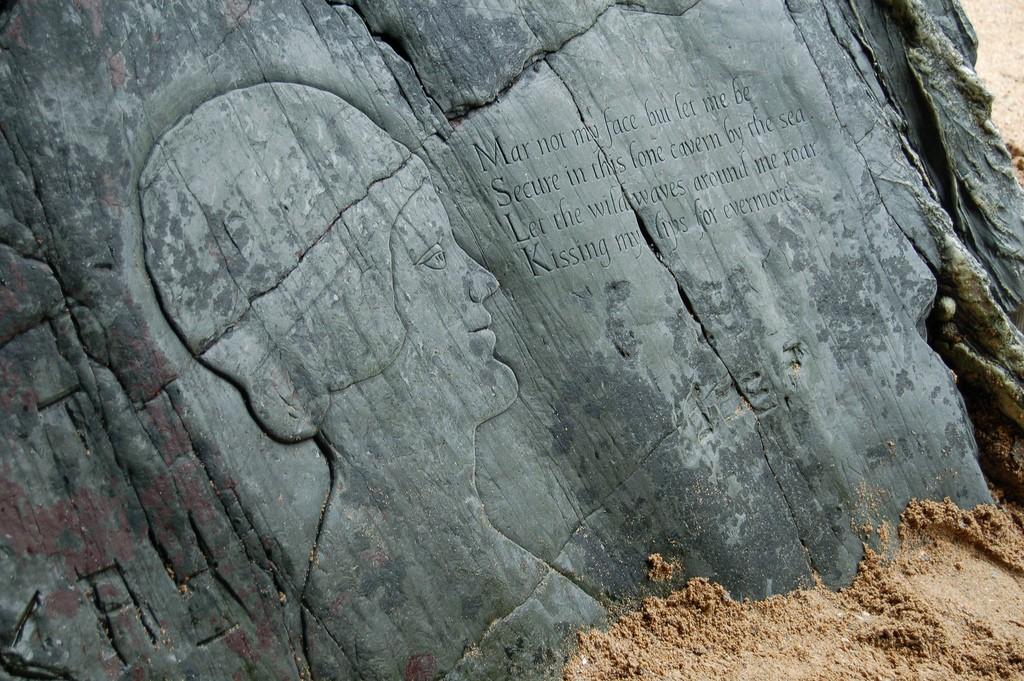 Crantock cave carving