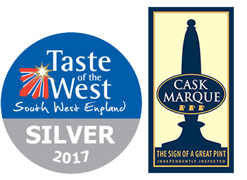 The Bowgie Image Taste of the West Silver Award and Cask Marque Logos